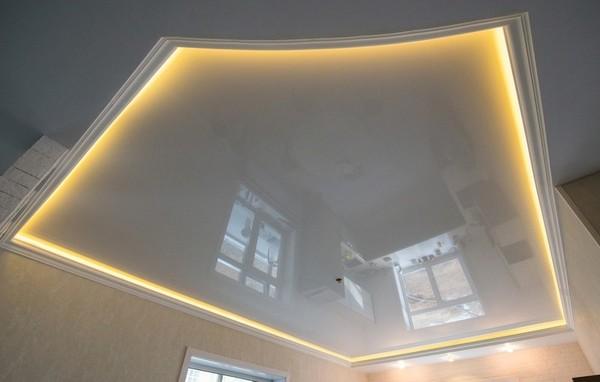 Альбом: Натяжной потолок со светодиодной подсветкой, белый глянец. Фото: 270